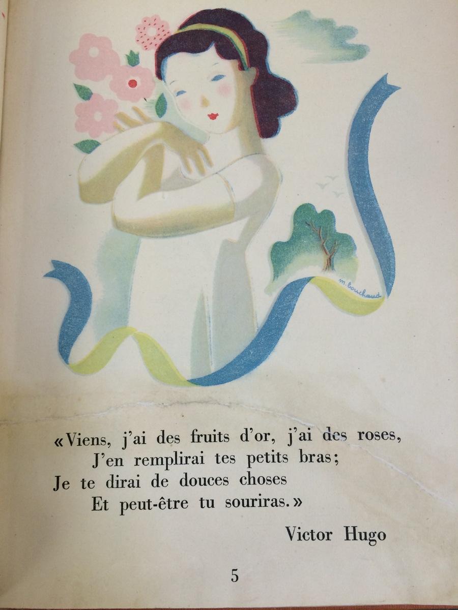 Page de livre avec dessin jeune fille