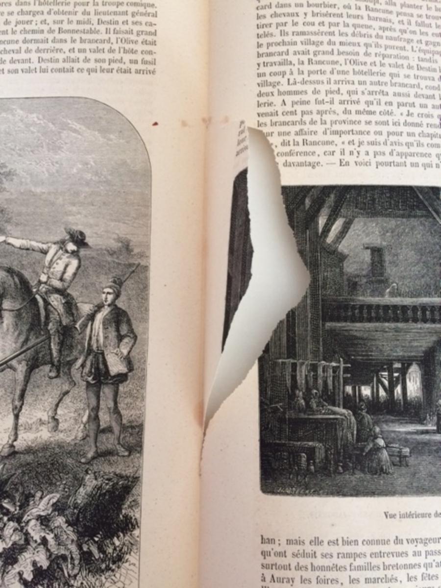 Déchirure intérieure page livre