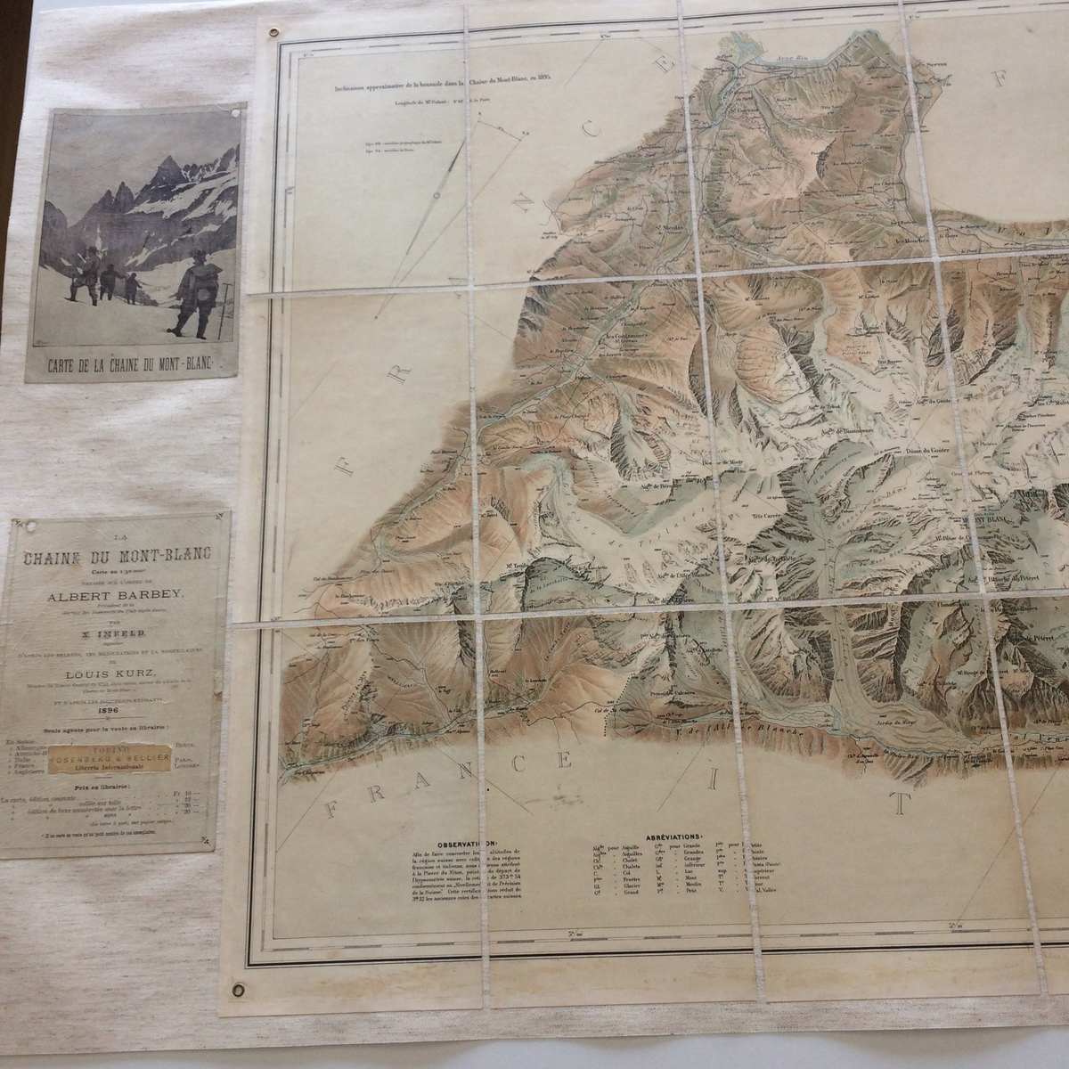 Détails carte du Mont Blanc